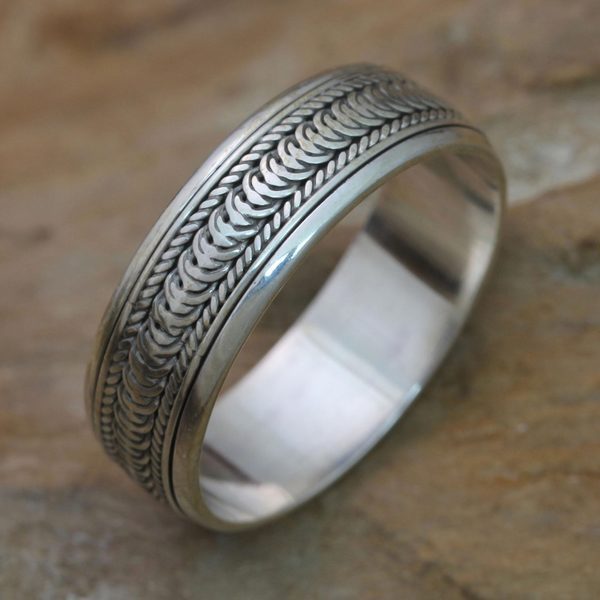 s handcrafted sterling silver infinity path ring