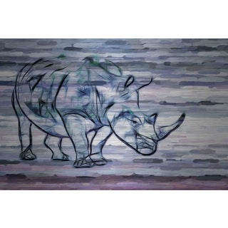 Parvez Taj 'Rhinoceros' Painting Print on Brushed Aluminum