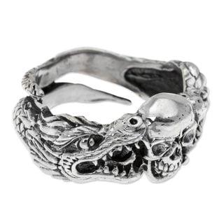 Handmade Men's Sterling Silver 'Fierce Dragon' Ring (Indonesia)