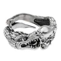 Handmade Men's Sterling Silver 'Fierce Dragon' Ring (Indonesia)