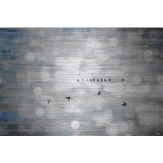 Parvez Taj 'Hanging Out' Painting Print on Brushed Aluminum