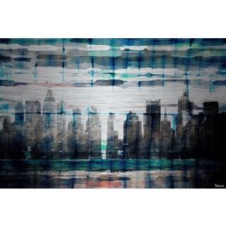 Parvez Taj 'Skyline at Night' Painting Print on Brushed Aluminum