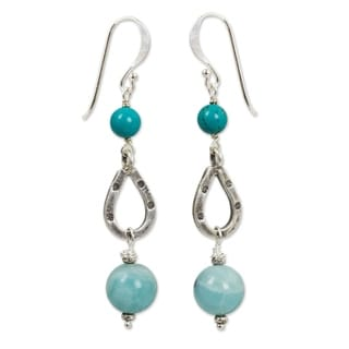 Handmade Sterling Silver 'Lucky Blue' Amazonite Calcite Earrings (Thailand)