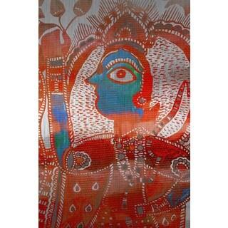 Parvez Taj 'Watching You' Painting Print on Brushed Aluminum