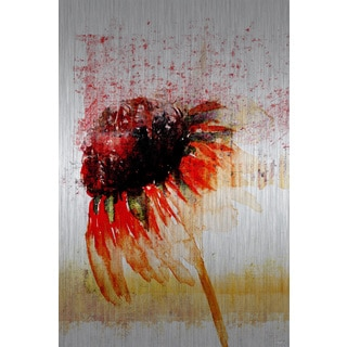 Parvez Taj 'Flower 4' Painting Print on Brushed Aluminum