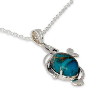 Handcrafted Sterling Silver 'Sky Secret' Turquoise Necklace (India)