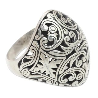 Handmade Sterling Silver 'Kedaton Forest' Ring (Indonesia)