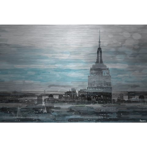 Handmade Parvez Taj - Blue City Hues Print on Brushed Aluminum
