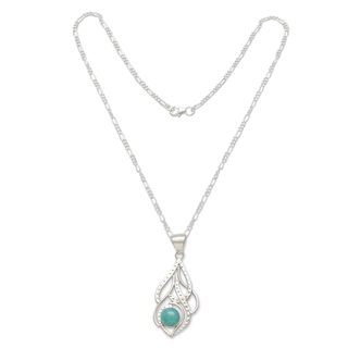 Handmade Sterling Silver 'Sweet Blue' Amazonite Necklace (Peru)