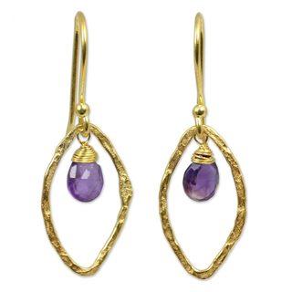 Handmade Gold Overlay 'Swinging Ellipses' Amethyst Earrings (Thailand)