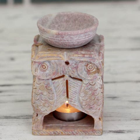 Handmade Soapstone 'Agra Owls' Oil Warmer (India)