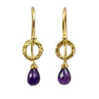 Handmade Gold Overlay 'Lilac Suns' Amethyst Earrings (Thailand)