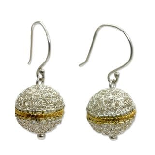 Handcrafted Gold Overlay Accent 'Shining Lantern' Earrings (Indonesia)