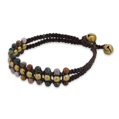 Handmade Brass 'Colors of Joy' Jasper Bracelet (Thailand)