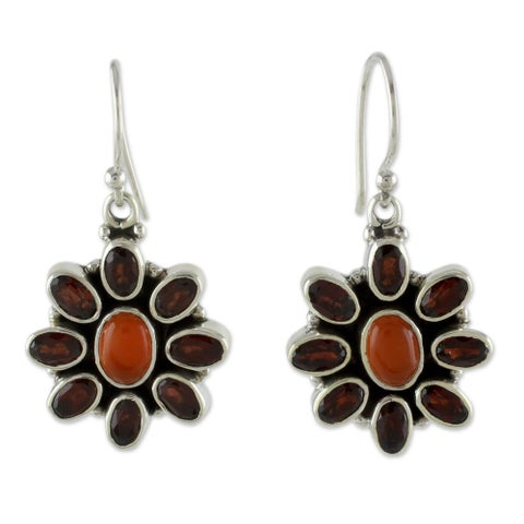 Handmade Sterling Silver 'Passionate' Garnet Carnelian Earrings (India)