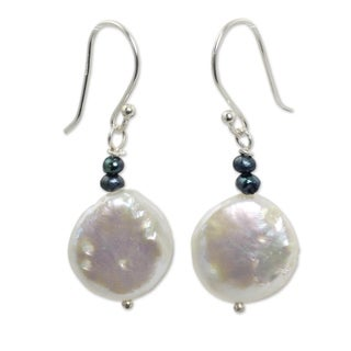 Handmade Sterling Silver 'Lunar Horizon' Pearl Earrings (14 mm) (Thailand)