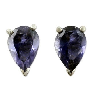 Handmade Sterling Silver 'Devotion' Iolite Earrings (India)