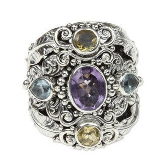 Handmade Butterfly Queen Unique Artisan Design Multi Gemstone Cluster Womens Sterling Silver Cocktai (Indonesia) - Purple