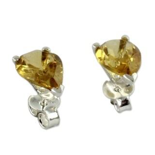 Handmade Sterling Silver 'Devotion' Citrine Earrings (India)