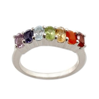 Handcrafted Sterling Silver 'Positivity' Multi-gemstone Ring (India)