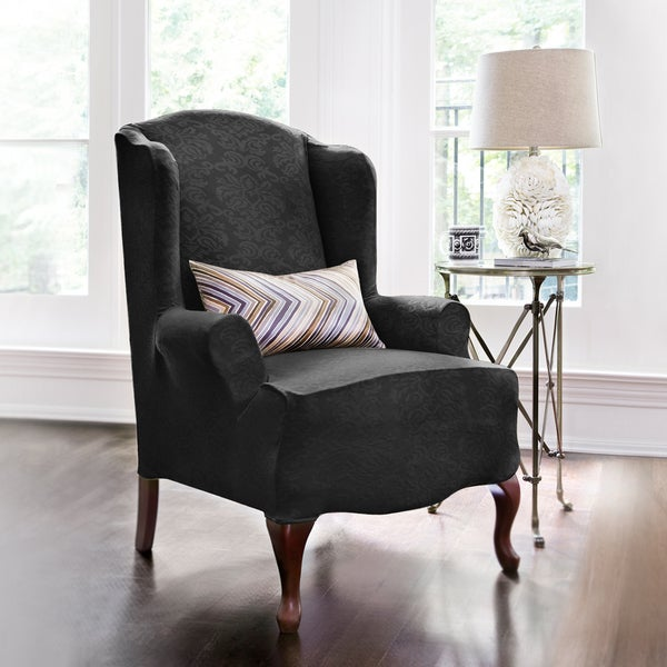 Shop Coverworks Dahlia Damask 1 Piece Stretch Wing Chair