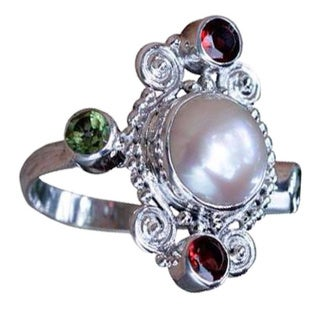 Silver 'Moon and Stars' Pearl Multi-gemstone Ring (10mm) (Indonesia)
