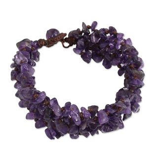 Handcrafted Amethyst 'Lilac Flow' Bracelet (Thailand)