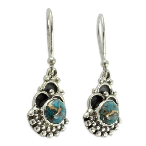 Handmade Sterling Silver Blue Rapture Turquoise Earrings (India)