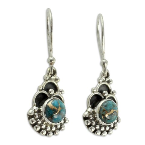 Handmade Sterling Silver 'Blue Rapture' Turquoise Earrings (India)