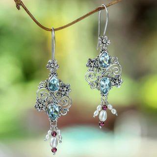 Silver 'Sky Sonnet' Pearl Multi-gemstone Earrings (6 mm) (Indonesia)