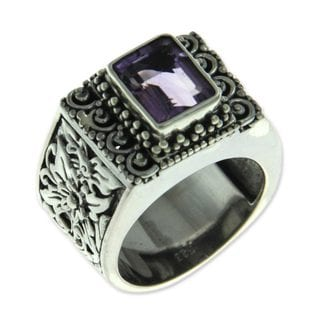 Royal Beauty Handmade Fashion Accessory Vintage Sterling Silver Purple Amethyst Gemstone Cocktail Jewelry Ring (Indonesia)