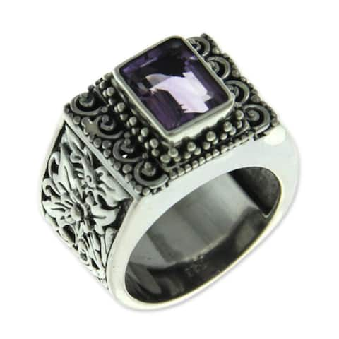 Handmade Sterling Silver Purple Amethyst Cocktail Ring (Indonesia)