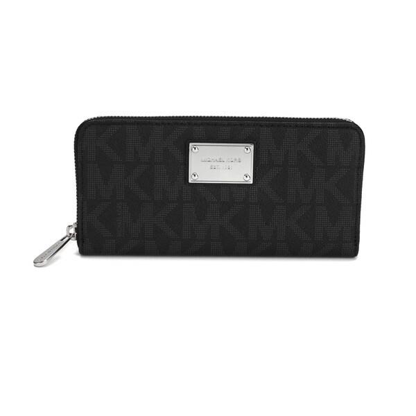 68251790e207b6 Michael Kors Jet Set MK Logo Zip Around Black Continental Wallet. Click to  Zoom