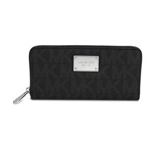 Michael Kors Jet Set MK Logo Zip Around Black Continental Wallet