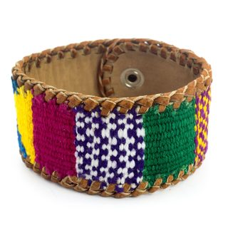 Handcrafted Leather Cotton 'Abundance' Bracelet (Guatemala)