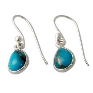 Handmade Sterling Silver 'Beautiful Blue Goddess' Turquoise Earrings (India)