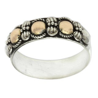 Handmade Gold Overlay 'Five Moons' 18k Gold Plated Sterling Silver Ring (Indonesia)