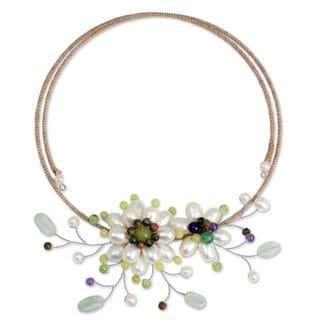 Handmade Pearl 'Sonata' Multi-gemstone Necklace (6 mm) (Thailand)
