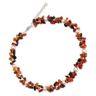 Handmade Pearl 'Luscious Chic' Multi-gemstone Choker (5 mm) (Thailand) - Orange