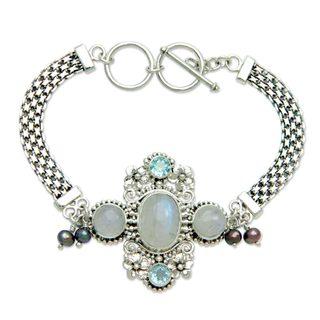 Handmade Silver 'Regal Gianyar' Pearl Multi-gemstone Bracelet (4mm) (Indonesia)