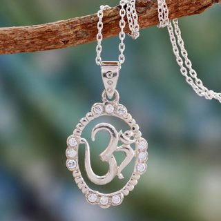 Handcrafted Sterling Silver 'Peaceful Om' Zirconium Necklace (India)