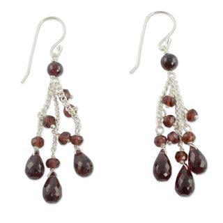 Handmade Sterling Silver 'Scarlet Cascade' Garnet Earrings (India)