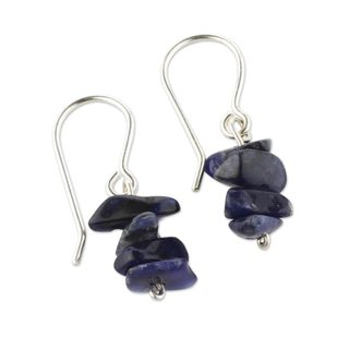 Handmade Sterling Silver 'Nature's Harmony' Sodalite Earrings (Peru)