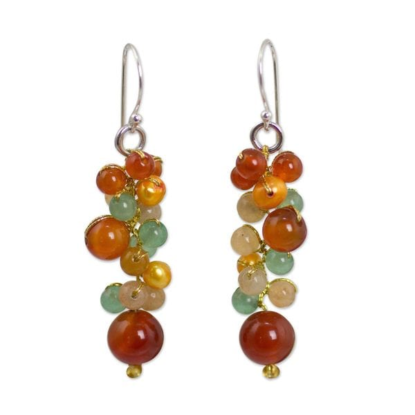 Handmade Sterling Silver 'Vineyard' Multi-gemstone Earrings (4 mm) (Thailand)