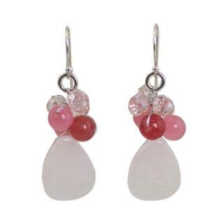 Link to Handmade Sterling Silver 'Pink Rose' Quartz Earrings (Thailand) Similar Items in Earrings