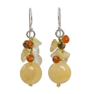 Sterling Silver 'Yellow Rose' Multi-gemstone Earrings (Thailand)