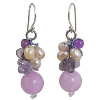 Handmade Silver 'Sweet Lavender' Pearl Multi-gem Earrings (4 mm) (Thailand)