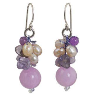 Handmade Silver 'Sweet Lavender' Pearl Multi-gem Earrings (4 mm) (Thailand)