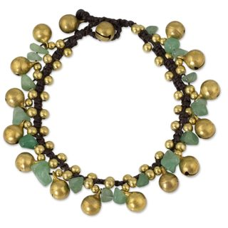 Handcrafted Brass 'Joyous Bells' Aventurine Bracelet (Thailand)