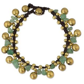 Handmade Brass 'Joyous Bells' Aventurine Bracelet (Thailand)